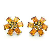 Golden Topaz Rhinestone Earrings. Flower Clusters. Emerald Cut Petals. Clip Ons. Vintage 1960's Fashion Jewelry