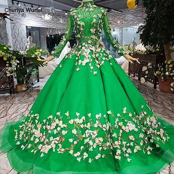 Green High Neck Long Sleeve Lace-up Muslim Evening Long Dress with Veil Formal Gown