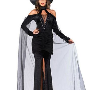 DCCKLP2 2PC.Sultry Sorceress,velvet dress w/attached cape,witch hat in BLACK