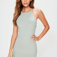 Missguided - Petite Green 90's Neck Ribbed Mini Dress