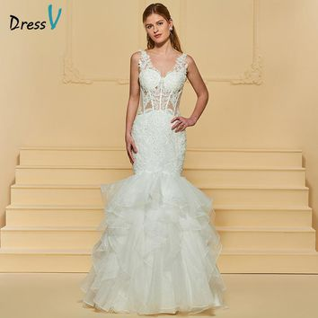 Dressv Ivory Long Wedding Dress V Neck Sleeveless Beading Lace Mermaid Organza Zipper Up Church Garden Custom Wedding Dress