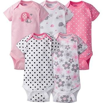Gerber Baby Girls' 5 Pack Onesuits, Elephants/Flowers, 0-3 Months