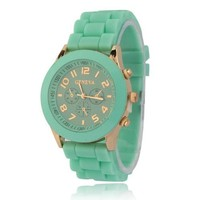 ZPS Unisex Geneva Silicone Jelly Gel Quartz Analog Sports Wrist Watch Hot Sale (Mint Green)