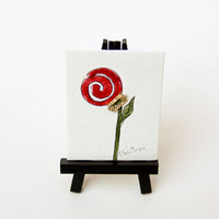 Teacher gift, Contemporary floral watercolor, red rose flower minimalistic painting, , Miniature painting, upcycled vintage jewelry,