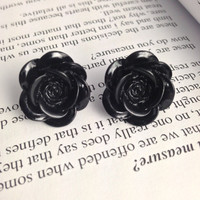 18mm Black Resin Flower Earrings with Titanium and Nickel Free Earring Posts