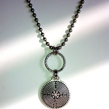 Mens Celtic Necklace, Labyrinth Necklace, Silver Circle, Spiral, Maze, Nomad, Unisex Jewelry