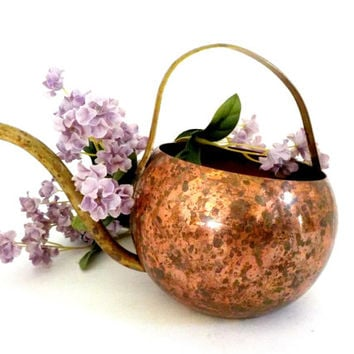 Vintage Copper Watering Can, Brass Handle and Spout, Dappled Patina, Garden Tools, Garden Decor, African Violet Watering Can, Cottage Decor