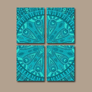Aztec Wall Art Canvas Tribal Pottery Bedroom Decor Turquoise Bathroom Mandala Ornament Design Floral Set of 4 Prints Bedding Comforter