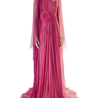 Gucci Long-Sleeve Pleated Silk Chiffon Gown