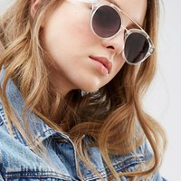Jeepers Peepers Clear Frame Round Sunglasses with Gold Metal Detail at asos.com