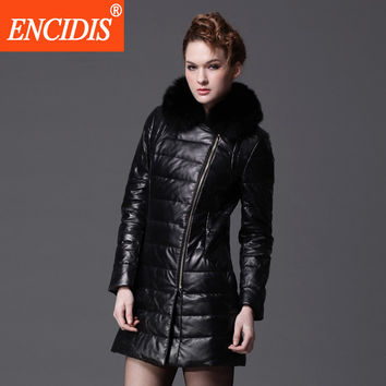 Women's Winter Jacket Long Ladies Coats Leather Coats Down Coat Women 2016 New Fashion Coats Female Fur Collar Black Parka Y505