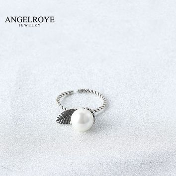 RINGS FOR WOMEN COPPER ANEL SIMULATED PEARL LEAVES JEWELRY ANILLOS VINTAGE BAGUE ANEIS RING WEDDING BANDS BIJOUX FEMME 2017