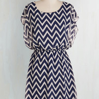 Nautical Mid-length Short Sleeves Shift Miracle Moxie Dress in Navy and White
