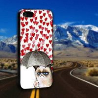 Grumpy Cat Heart Love Valentine - ArtCover - Hard Print Case iPhone 4/4s, 5, 5s, 5c and Samsung S3, S4