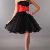 Color Block Strapless Ruched Beaded Homecoming Dress
