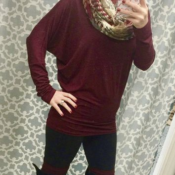 Long Sleeve Dolman: Burgundy