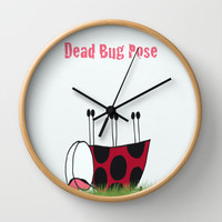 Ladybug Demonstrating The Dead Bug, Yoga Pose Wall Clock by One Artsy Momma