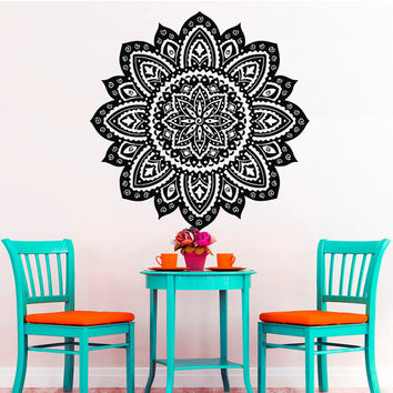 Wall Decals Mandala Indian Pattern Yoga Oum Om Sign Decal Vinyl Sticker Home Decor Art Murals Bedroom Studio Window MN486