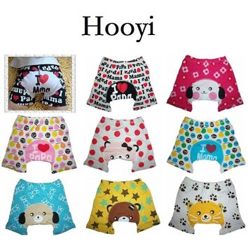 Hooyi Summer Baby Short Pants Animal Newborn PP Pant I Love Mama Papa Diaper Cover Nappies Baby Clothes Cotton Underpant Shorts