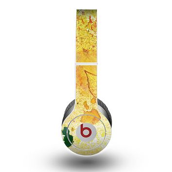 The Yellow Leaf-Imprinted Paint Splatter Skin for the Beats by Dre Original Solo-Solo HD Headphones