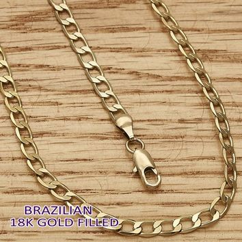 Gold Layered Men and Women Curb Basic Anklet, by Folks Jewelry