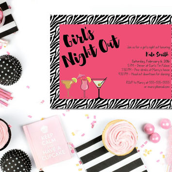 Printable Girls Night Out invitation/ printable bachelorette party invitation/ printable hen party invitaiton/ girls night birthday invite