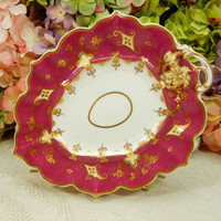 Antique English Porcelain Handled Dish Tray Platter ~ Red ~ Maroon ~ Gold