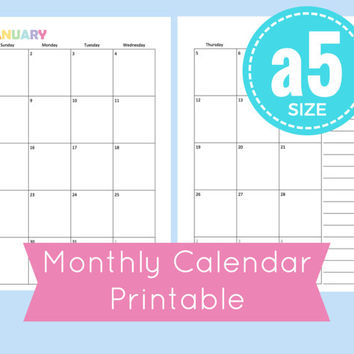 a5 monthly calendar printable,  a5 month on two pages, a5 planner pages, a5 planner printable, planner pages 8.5 x 5.5,  a5 monthly calendar