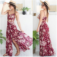 Hot Popular 2017 Trending Fashion Women Floral Printed Hollow Bandage Sexy Floral Printed Spagehetti Strap Split Erotic One Piece Dress _ 11851