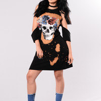 Deadly Kiss Dress - Black/Rust