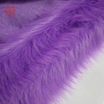 High grade 9cm long hair purple faux fur fabric for winter coat,vest,cosplay stage decor free shipping 150*50cm 1piece SP2221