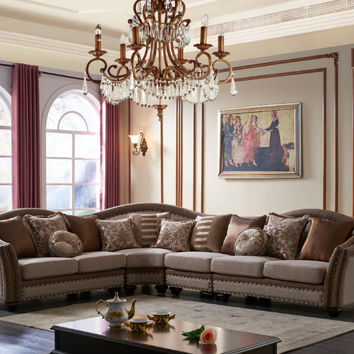Mc Ferran SF2788-SECT 4 pc valentina III collection multi tone and pattern chenille fabric upholstered sectional sofa with nail head trim