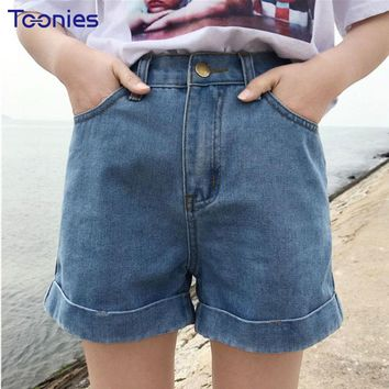 2018 New Preppy Style Women Denim Shorts Casual Curling Jeans Shorts Woman All-match Slim Bottoms Harajuku Skinny Short Feminino