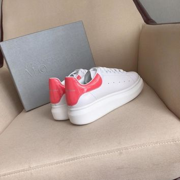 Alexander Mcqueen's world-class classic leather casual shoes watermelon red