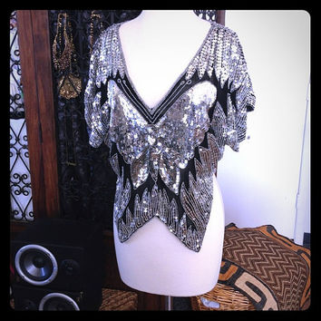 Vintage silver and black Butterfly Sequined Blouse - trophy top - cocktail party - happy hour - disco top