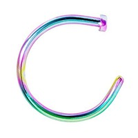 BodyJ4You Nose Rings Hoop 22 Gauge Rainbow Stainless Steel Piercing Jewelry