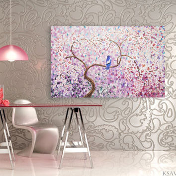 "CHERRY BLOSSOM Large painting 40""x64"" Modern Acrylic landscape blue bird Original extra large wall art unstretched canvas XXL sakura lilac"