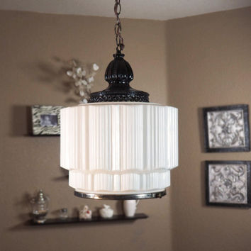 Vintage 1930s-1940s Art Deco Milk Glass Skyscraper Swag Light Chandelier Rewired