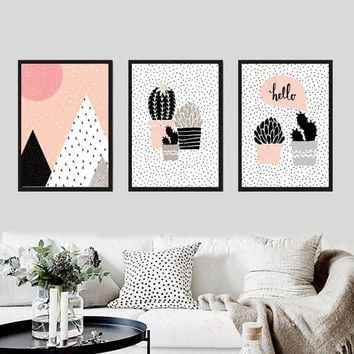 Nordic Style Cartoon Cactus Plant Unframed Fashionable Simple Style Inkjet Oil Canvas Painting Ink Painting Poster Wall Art