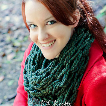 Knit Infinity Scarf- Dark Green Chunky Arm Knit Infinity Scarf- Forest Green Arm Knitted Eternity Scarf
