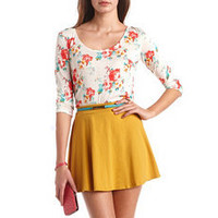 Printed Tie-Back 3/4 Sleeve Top: Charlotte Russe