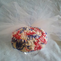 Red White and Blue Pill Box Hat with Large Tulle Multi-layered Bow