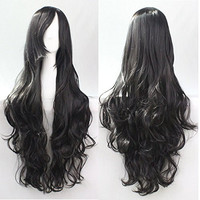 Womens/Ladies 80cm Black Color Long CURLY Cosplay/Costume/Anime/Party/Bangs Full Sexy Wig (80cm,Curly Black)
