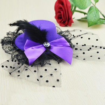 Hairpins Ladys Mini Top Hat Cap Lace fascinator Hair Clip Costume Accessory E5147a