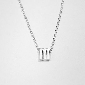 Silver Initial Necklace - Gold Letter Necklace - Lowercase Rose Gold Alphabet Necklace