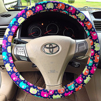 Navy, Hot Pink, Lime Green Elephant Steering Wheel Cover, Car Accessory