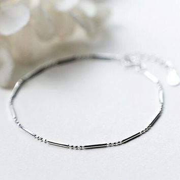 (So Thin) 1pc 925 Sterling Silver jewelry Lucky Bar Chain Bracelet Charm Women's gtls428