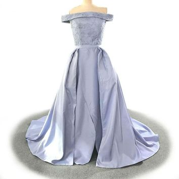 Boat Neck Special Occasion Gown Custom Beading Evening Dress Light Purple Satin Party Dress
