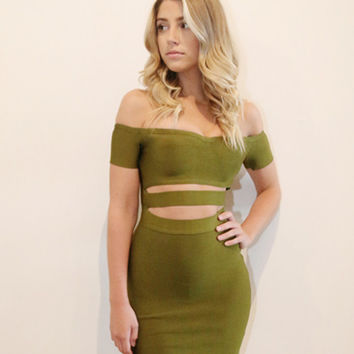 Abbey Off Shoulder Olive Green Cutout Bandage Dress