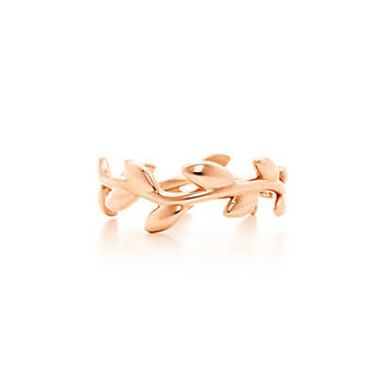 Tiffany & Co. - Paloma Picasso® Olive Leaf narrow band ring in 18k rose gold.